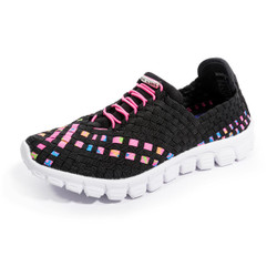 Danielle-A Black/Neon Multi Woven Sneakers