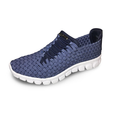 Kirby Navy Crosshatch Woven Sneakers
