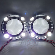 "2pc Panamera 1.0 Style Shrouds Halo, with LED White DRL for 2.5"" - 3"" projectors"