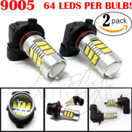 2x 9005 9145 H10 Size Projection LED Super Bright 5000k - 6000K White Fog Light DRL Bulb Pack of 2