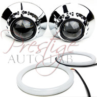 "2x UNIVERSAL HID XENON PROJECTOR BEZELS SHROUDS BMW E46 Style 2.5""-3"" E46-R + Cotton Halo"
