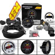 AEM X-Series Wideband UEGO AFR Sensor Controller Gauge 30-0300 + Silver Bezel and White Face 30-0300-ACC