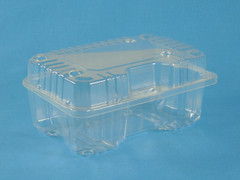 "LBH-491 Rectangle Vented Hinged Container (300/Case) Size: 7 3/8"" x 4 13/16"" x 3 3/16"""
