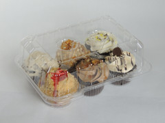 "LBH-6656 6 Count Deep Cupcake/Muffin Hinge 2 1/8 Bottom Cup Diameter  (350/Case) Size: 9 3/8"" x 6 3/4"" x 4"""
