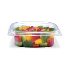 CS04 Placon Crystal Seal 4 oz. Clear Hinged Container (400/Case) Size: L 4.22 x W 3.82 x H 1.33