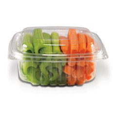CS12DL Placon Crystal Seal 12 oz. Clear Hinged Container Dome Lid (200/case) L 5.50 x W 5.00 x H 1.90