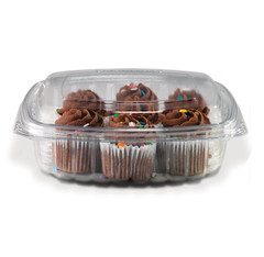 CS24DL Placon Crystal Seal 24 oz. Clear Hinged Container Dome Lid (200/Case) Size: L 7.25 x W 6.31 x H 2.19