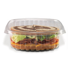 CS32 Placon Crystal Seal 32 oz. Clear Hinged Container (200/Case) Size: L 7.25 x W 6.31 x H 2.38