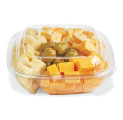 SBM-32C-3CC (CLEAR) Placon Fresh n Clear 32 oz. Compartment Bowl in Clear (Lid sold separately) (300/Case) Size: L 7.5 x W 7.5 x H 2.19