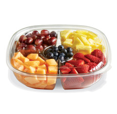 SBL-48C-4CC (CLEAR) Placon Fresh 48 oz. Compartment Bowl in Clear w/Center Cup (Lid sold separately) (150/Case) Size: L 9 x W 9 x H 2.22