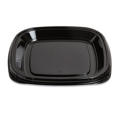 "ST11T Placon Fresh n Clear Catering 11"" Black Tray/Platter (50/Case)"