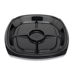 "ST12T-4CC Placon Fresh n Clear Catering 12"" Black 4 Comp. Tray/Platter w/Cup Area (50/Case)"
