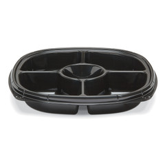 "ST12T-5 Black Placon Fresh n Clear Catering 12"" Black 5 Compartment Tray/Platter (50/Case)"