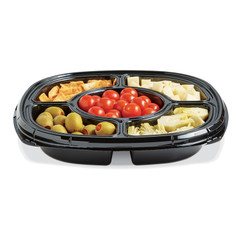 "ST12T-502 BLACK Placon Fresh n Clear Catering 12"" Black 5 Comp. Tray/Platter w/Liquid Control (50/Case)"