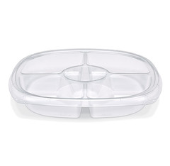 "ST12T-5 Clear Placon Fresh n Clear Catering 12"" Clear 5 Compartment Tray/Platter (50/Case)"