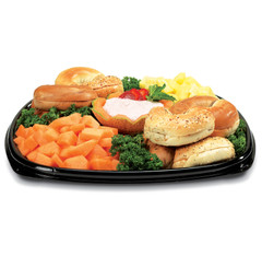 "ST14T Placon Fresh n Clear Catering 14"" Black Tray/Platter (50/Case)"