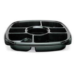 "ST14T-7 Black Placon Fresh n Clear Catering 14"" Black 7 Comp. Tray/Platter (50/Case)"