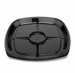 "ST16T-4CC Placon Fresh n Clear Catering 16"" Black 4 Comp. Tray/Platter w/Cup Area (50/Case)"