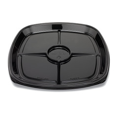 "ST18T-4CC Placon Fresh n Clear Catering 18"" Black 4 Comp. Tray/Platter w/Cup Area (50/Case)"
