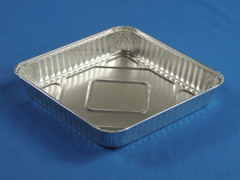 "15050 8"" Square Foil Snap-on Tray (Dome lid sold separately) (500/Case) Size: 7.88 x 7.88"