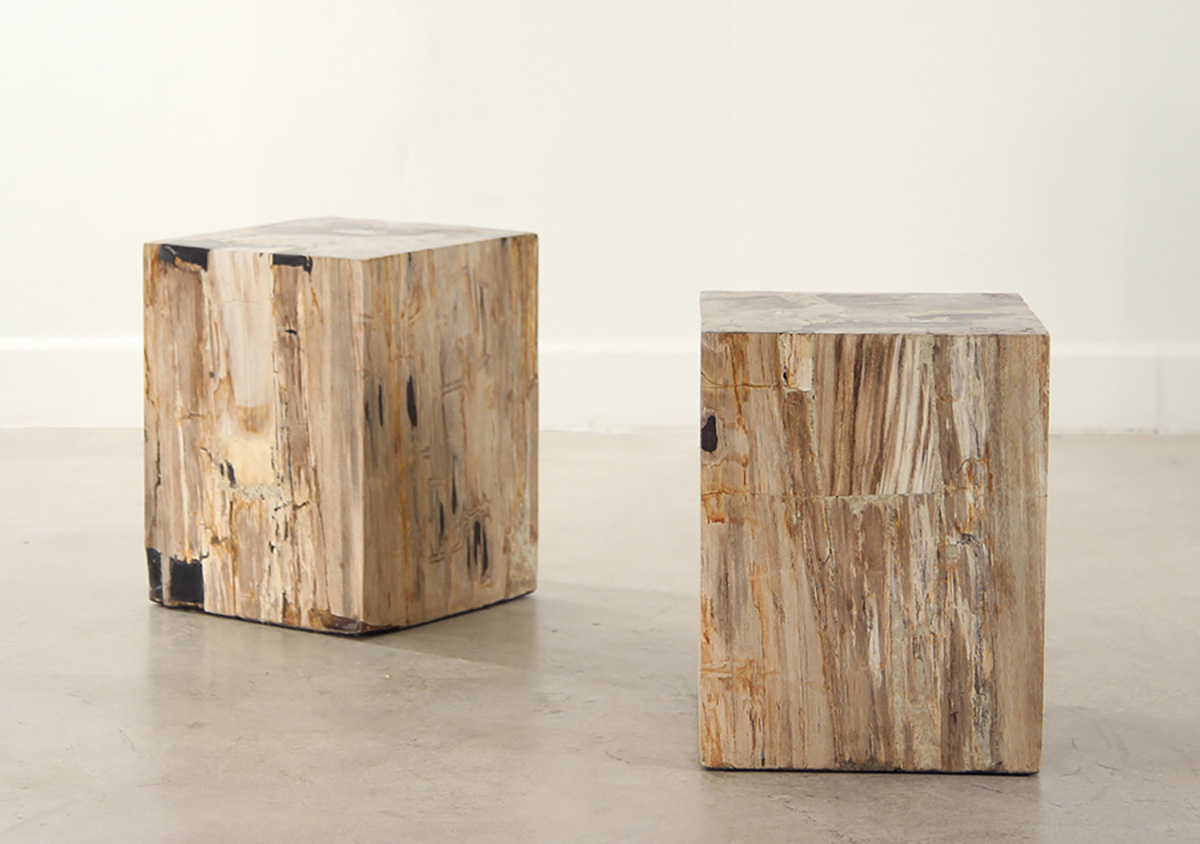 petrified wood cube table