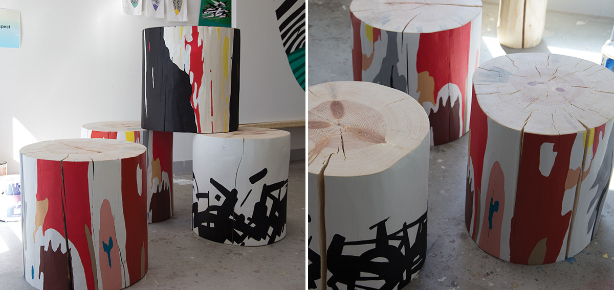 Hand Painted Art Tables in Studio