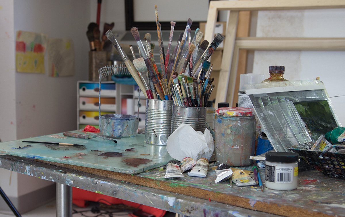 Paint Brushes in the Artist Studio