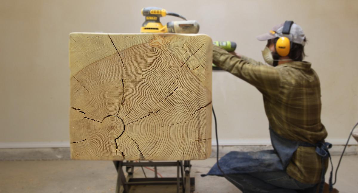 Sanding a Pine Bench