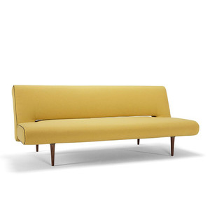 Unfurl Sofa 79 x 38 x 33 H inches, Seat 15 H inches Yellow Polyester Dark Wood Legs