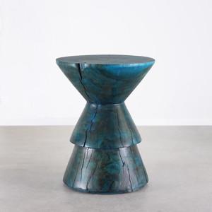 Kali Side Table 15.5 dia x 20 H inches Azure Blue Finish Sealed Topcoat