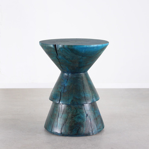 Kali Side Table 15.5 dia x 20 H inches Azure Blue Finish