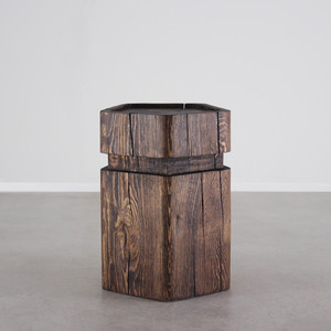Cinco Side Table 15 x 15 x 22 H inches Dark Walnut Finish Oiled Topcoat