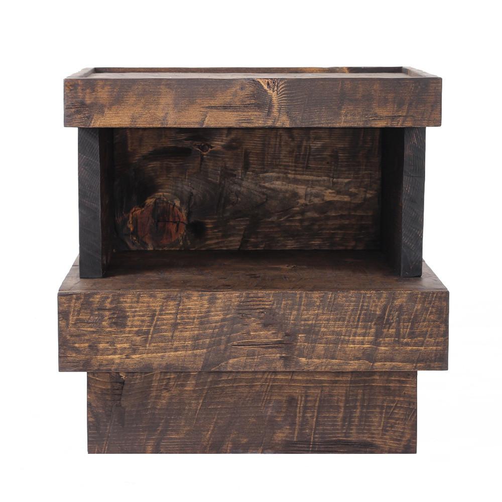 Durango Solid Wood Bedside Table 24 x 17 x 24 H inches Dark Walnut Finish