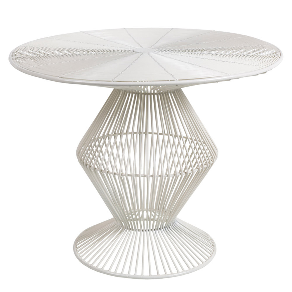 Attirant Thira Wire End Table   FIFE 106 23 X 23 X 18.5 H Inches Metal White