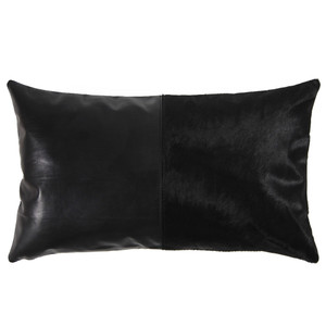 Duality Black Pillow 10 x 18 inches Leather, Cowhide