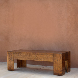 Galisteo Cocktail Table 60 x 24 x 20 H inches Honey Brown Finish Sealed Topcoat