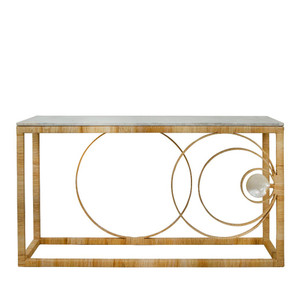 La Union Console 61 x 20 x 33 H inches Metal, Rattan, Marble, Mother of Pearl