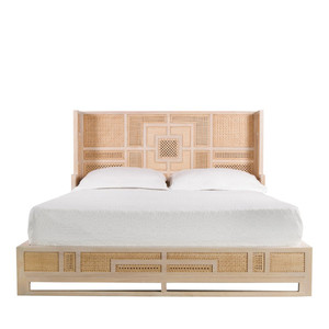 Basilisa Bed 82.75 x 62 x 41.25 H inches Metal, Rattan