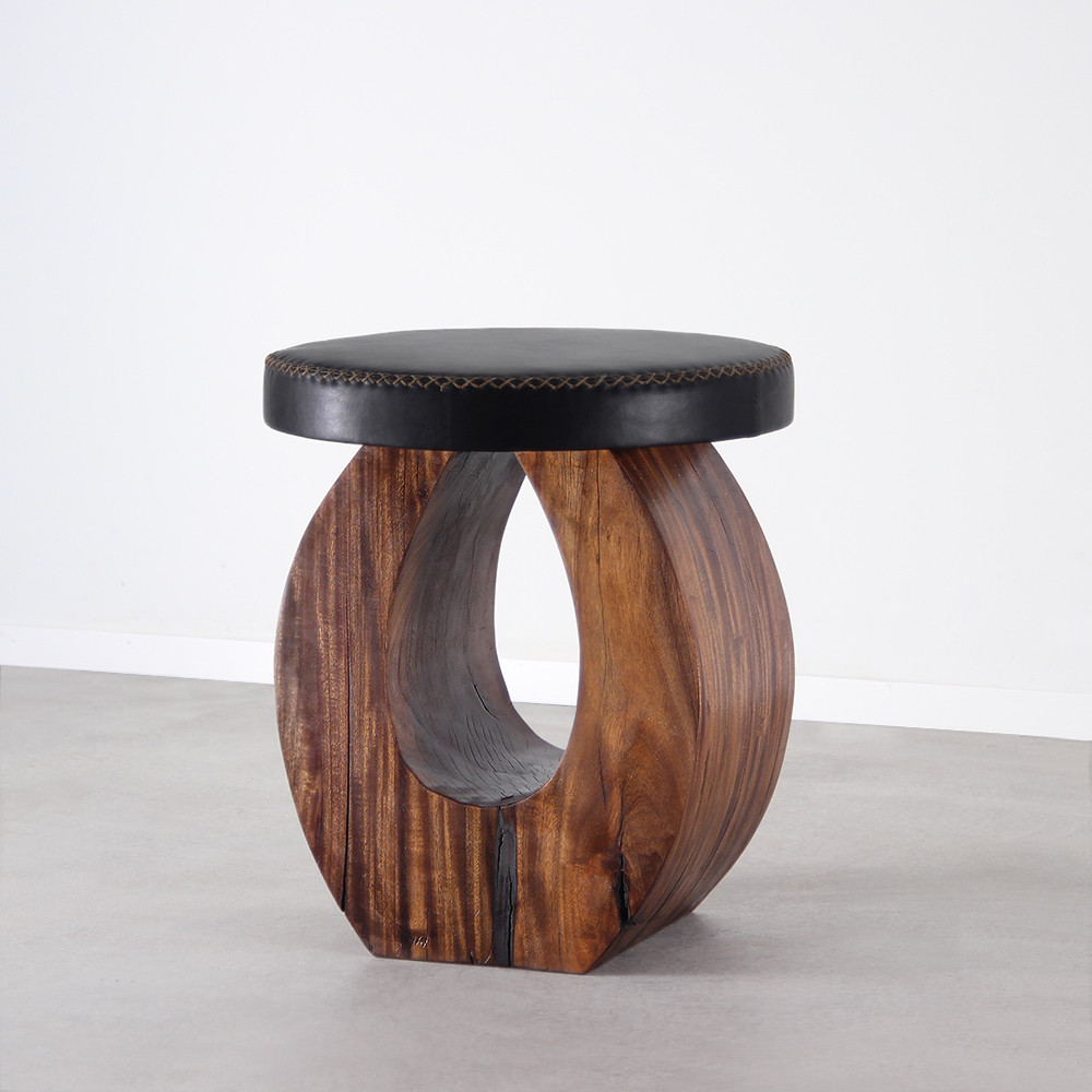 Madrid Stool Size: 16 dia x 18 H inches Dark Walnut Finish