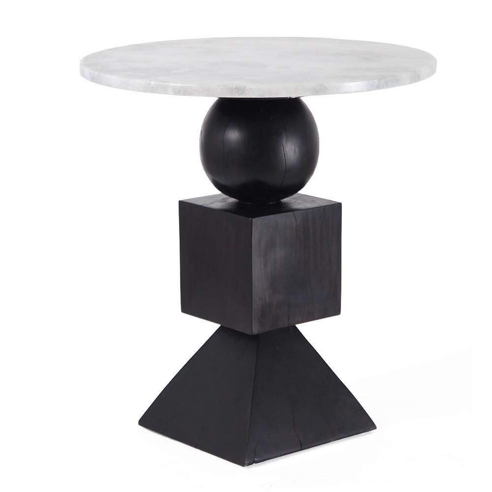 Domino Side Table 24 dia x 26.5 H inches Ebony Finish