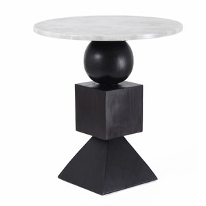 Domino Side Table 24 dia x 26.5 H inches Ebony Finish