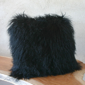 Black As Night Mongolian Lamb Pillow 17 x 17 inches