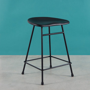 As Shown: Noa Bar Stool Size: 16 x 13 x 24 H inches Material: Leather and Powder Coated Metal Frame