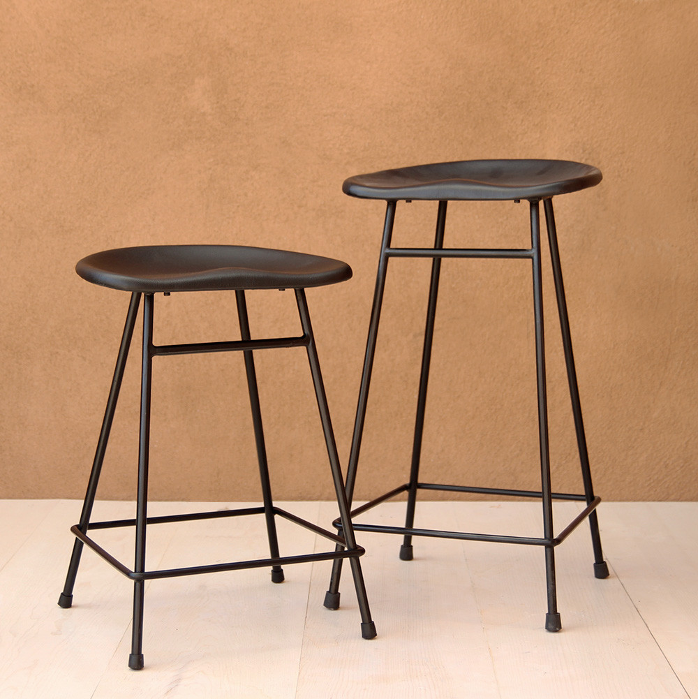 Noa Bar Stool 16 x 13 x 24 H inches, 16 x 13 x 29 H inches Leather and Powder Coated Metal Frame