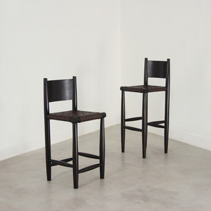 As Shown:  Durant Bar Stool Size: 16 x 18 x 35.5 H inches (24 H inch seat) or 16 x 18 x 41.5 H inches (30 H inch seat) Material: Leather and Mango Wood