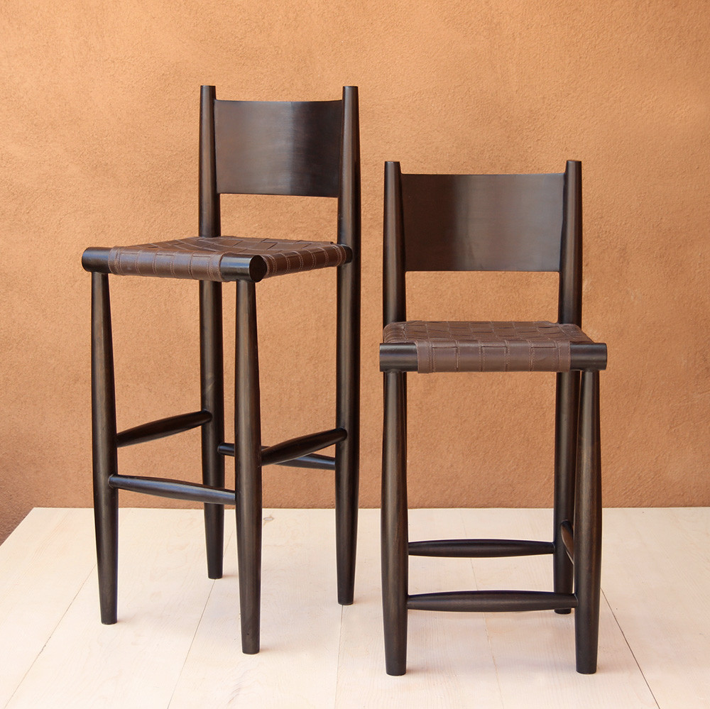Durant Bar Stool 16 x 18 x 35.5 H inches (24 H inch seat) or 16 x 18 x 41.5 H inches (30 H inch seat) Leather and Mango Wood