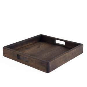 Teak Wood Serving Tray 15 x 15 x 2.5 H inches rteak Pale Black Exterior Oil Finish