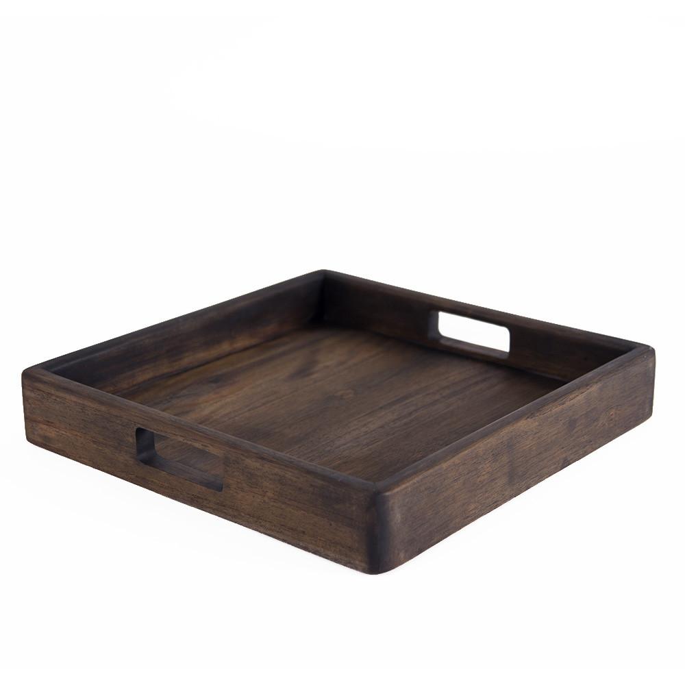 Teak Wood Serving Tray 15 x 15 x 2.5 H inches Teak Pale Black Exterior Oil Finish