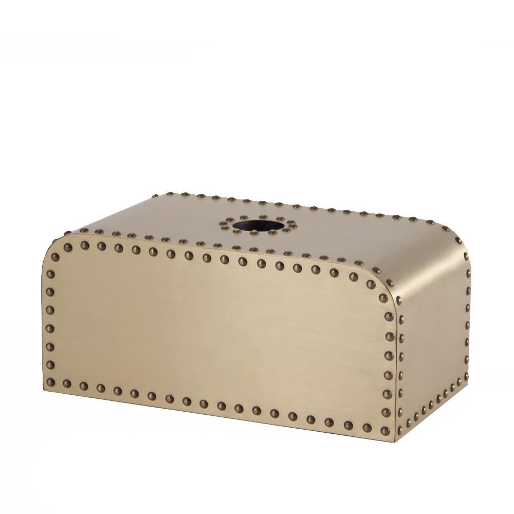Ocean Liner Tissue Box 5.25 x 9.25 x 4.25 H inches Brass, Wood