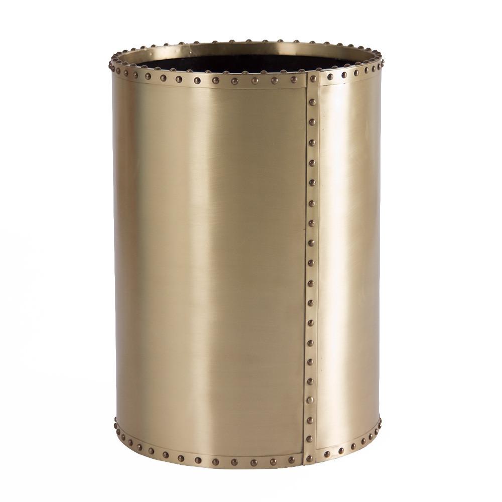 Ocean Liner Waste Bin 10 diameter x 14 H inches Brass